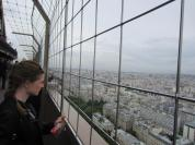Peering out over Paris.